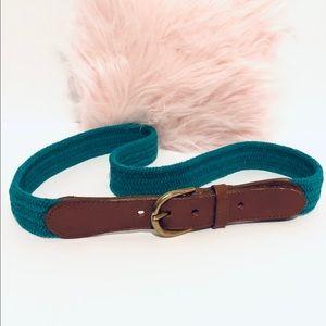 Vintage Green Elastic Belt w/ Leather Trim
